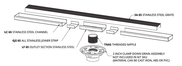 SS(AS) stainless shower drain drawing