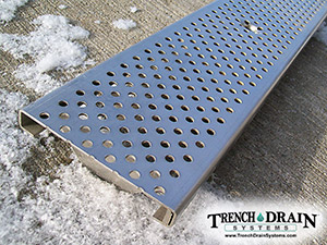 Perforated stainless steel trench grate